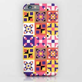 Maroccan tiles pattern with pink and purple no3 iPhone Case