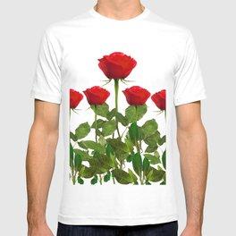 ORIGINAL GARDEN DESIGN OF RED ROSES ON WHITE T-shirt