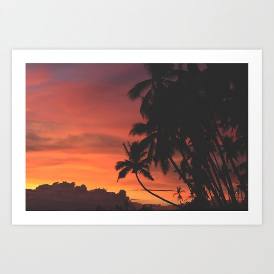 Hawaii Palm Trees Sunset Art Print