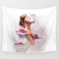 dancing Wall Tapestries featuring dancing by tatiana-teni