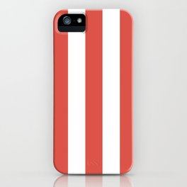 Lychee red - solid color - white vertical lines pattern iPhone Case