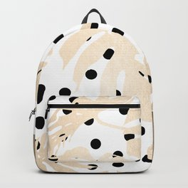 Simply Tropical White Gold Sands Palm Leaves on Dots Backpack