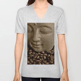 buddha coffee 2 Unisex V-Neck
