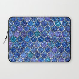 Sparkly Shades of Blue & Silver Glitter Mermaid Scales Laptop Sleeve
