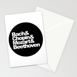 Bach and Chopin and Mozart and Beethoven, sticker, circle, black Stationery Cards
