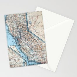 Vintage Map of California (1921) Stationery Cards