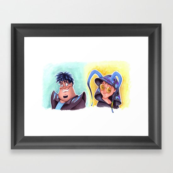 Mad T Party - Cheshire Cat and Caterpillar Framed Art Print