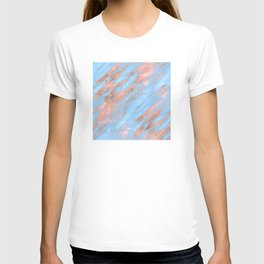 Sky Blue Marble With Rich Rose-Gold Veins T-shirt
