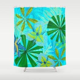 My blue abstract Aloha Tropical Jungle Garden Shower Curtain