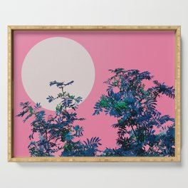Pink sky and rowan tree Serving Tray