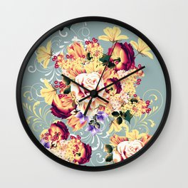 Roses and lilac. Beautiful victorian design Wall Clock