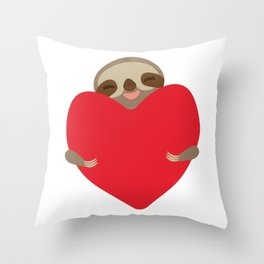 Valentines day card. Funny sloth with a red heart Throw Pillow