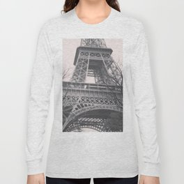 Eiffel tower, Paris, black & white photo, b&w fine art, tour, city, landscape photography, France Long Sleeve T-shirt