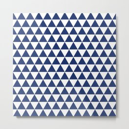Navy Triangle Pattern Metal Print
