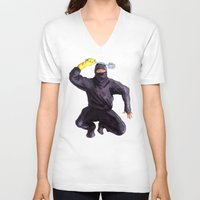 bathroom V-neck T-shirts featuring Bathroom Ninja by Del Gaizo