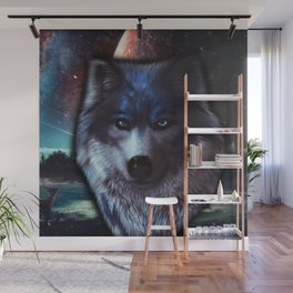Wolf face in space,Blue wolf painting Wall Mural