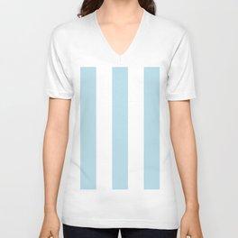 Aqua Blue and white stripe Unisex V-Ausschnitt