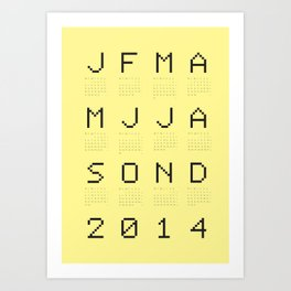 Yellow calendar 2014 Art Print