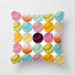 Pop Art Baseballs Throw Pillow