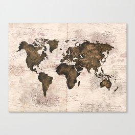 Coffee World Map Canvas Print