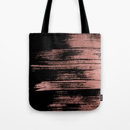 Modern black brushstrokes elegant faux rose gold Tote Bag