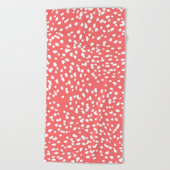 Claudia - abstract minimal coral dot polka dots painterly brushstrokes Beach Towel