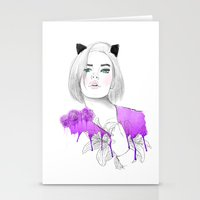 meow Stationery Cards featuring MEOW  by Sara Eshak