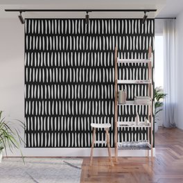 Classy Handpainted Stripes Pattern Black, Scandinavian Design Wall Mural