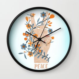 Peace Sign With Orange Flowers, Blue Flowers And Vines Wall Clock
