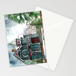 Blue House on a Grey Day Stationery Cards