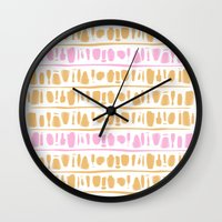rose gold Wall Clocks featuring Rose + Gold by Kat Rutt Design