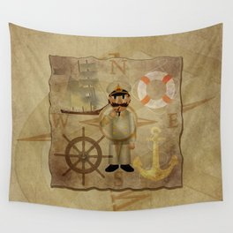 Captain, ship, rudder, anchor, lifebelt, map, compass, old map, messy, messy map Wall Tapestry