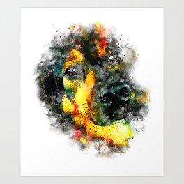 dog 2 splatter watercolor Art Print