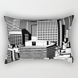 Hong Kong Black and White Rectangular Pillow