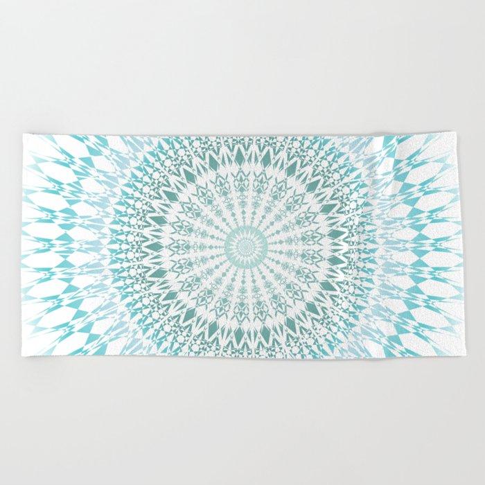 Turquoise White Mandala Beach Towel