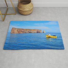 The Rock and the Yellow Boat Rug