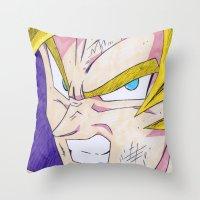 dbz Throw Pillows featuring Goku DBZ by DeMoose_Art