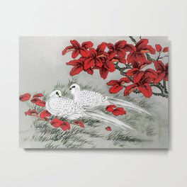 Vintage White Doves and Red Leaves on Gray / Grey Metal Print