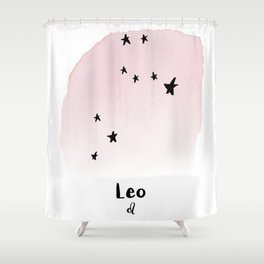 Leo Star sign, Constellation, Astrology, Horoscope, Zodiac Pink Watercolor Shower Curtain