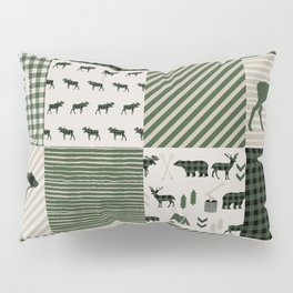 Camping hunter green plaid quilt cheater quilt baby nursery cute pattern bear moose cabin life Pillow Sham