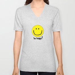 Be Happy Smiley Face Unisex V-Neck