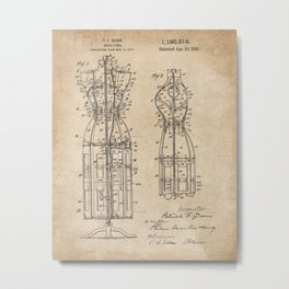 Vintage Dress Form Patent Drawing - Industrial Decor - Sewing - Vintage Design Metal Print