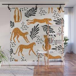 Cheetahs pattern on white Wall Mural