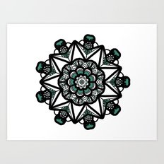 Turquoise & white mandala Art Print