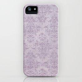 Vintage chic violet lilac floral damask pattern iPhone Case