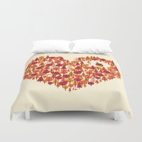 pun Duvet Covers featuring Wild at Heart by Wharton