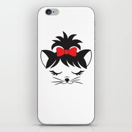 Cute Cat Wearing Red Bow iPhone Skin