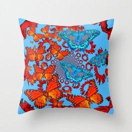 Blue & Orange Butterflies Abstract Pattern Art Throw Pillow