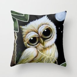 BLONDIE TINY OWL WITH PEACE PENDANT Throw Pillow