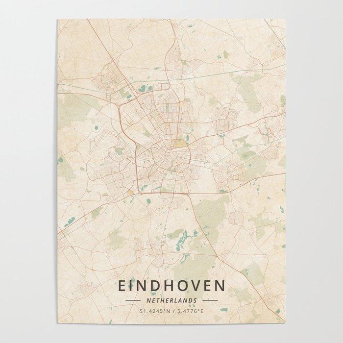 Eindhoven, Netherlands - Vintage Map Poster by designermapart | Society6